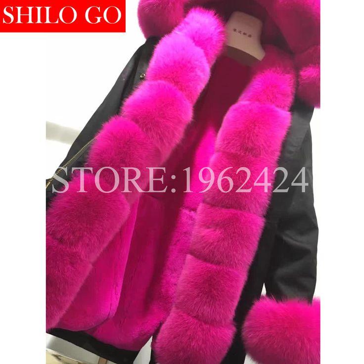 Artı 2016 yeni kış ordu yeşil ceket kadın paltolar kalın parkas doğal gerçek tilki kürk yaka Gül tavşan kat kapüşonlu pelliccia