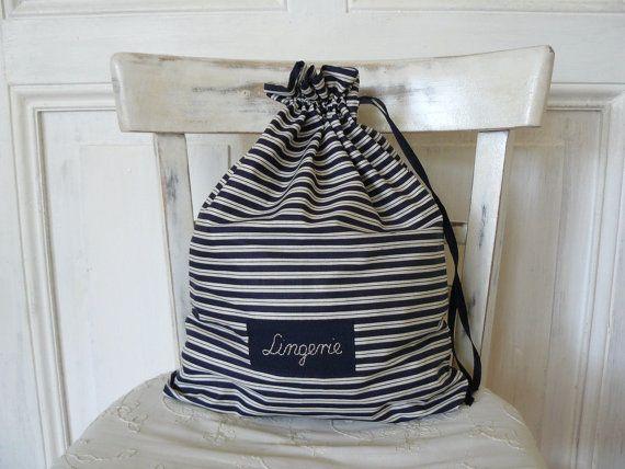 Travel lingerie bag, bachelor gift, honeymoon gift, laundry bag, gift for men, travel cotton pouch, custom label