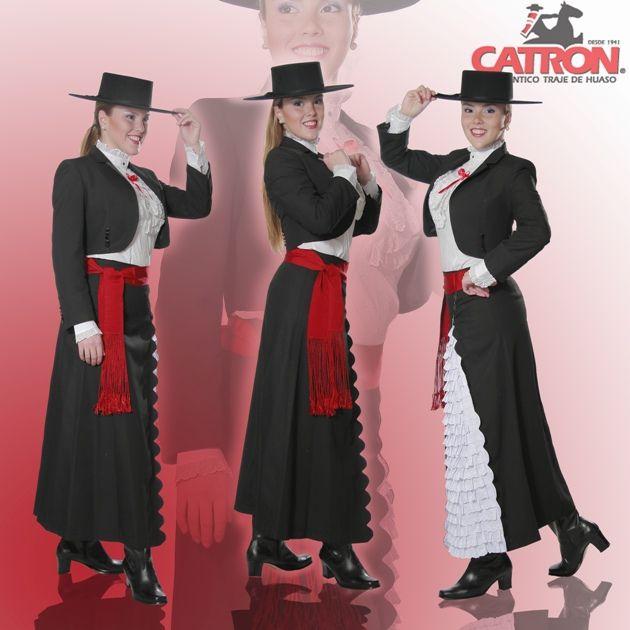 Traje de ropón Negro Traje de huasa elegante tradicional