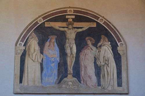 Crucifixion, Andrea del Castagno, detached fresco, 1453-55  ANDREA DEL CASTAGNO Andrea di Bartolo di Bargilla detto Andrea del Castagno (Castagno, 1421 circa – Firenze, 1457)   #TuscanyAgriturismoGiratola