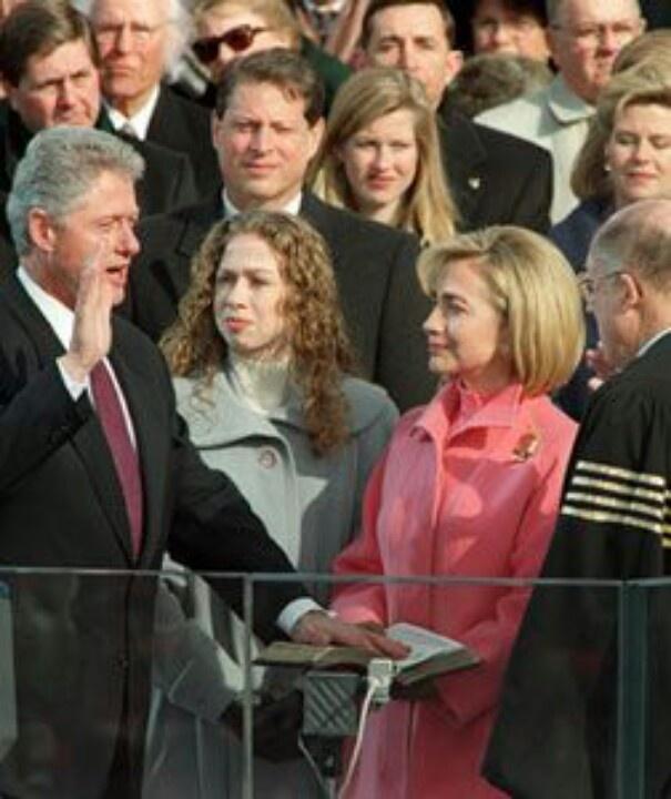 President William Jefferson Clinton With Hilary Clinton & Chelsea Clinton....