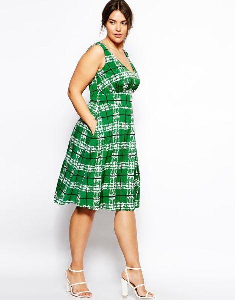 Vestido corto para gorditas con bolsillos y estamado de cuadros en verde de Asos Curve