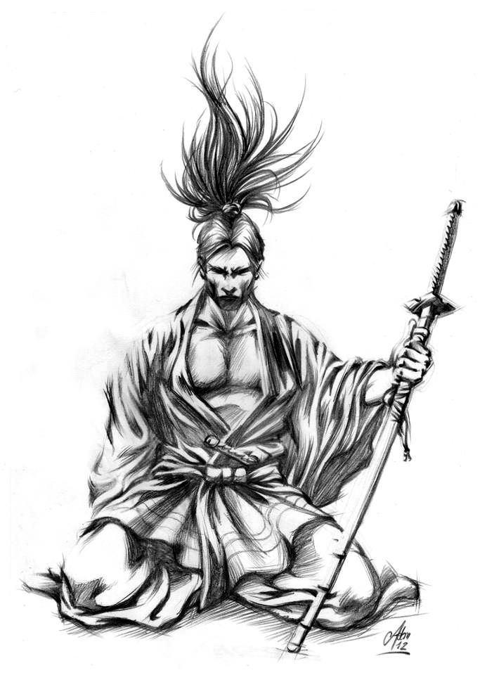 sketch of a kneeling samurai