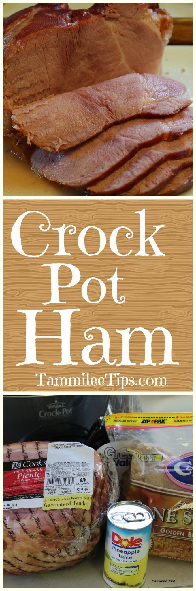 Super easy Crock Pot Ham Recipe! Make holiday prep a breeze with this easy slow cooker recipe! The perfect combination of pre cooked spiral ham, brown sugar, and pineapple juice! Add in pineapple slices for a fun addition. Great for Thanksgiving, Christmas, Easter or any day of the week!  via @tammileetips