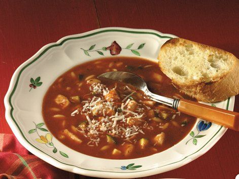 Chicken-Tomato-Basil Soup - Enjoy this hearty dish made with chicken and Progresso® tomato basil soup that's served with cheese - ready in 30 minutes.