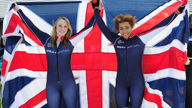 """January 22, Patscherkofel, Austria: Mica McNeill and Jazmin Sawyers of Great Britain celebrate after winning silver in the Two-Woman Bobsleigh at the Winter Youth Olympic Games"""