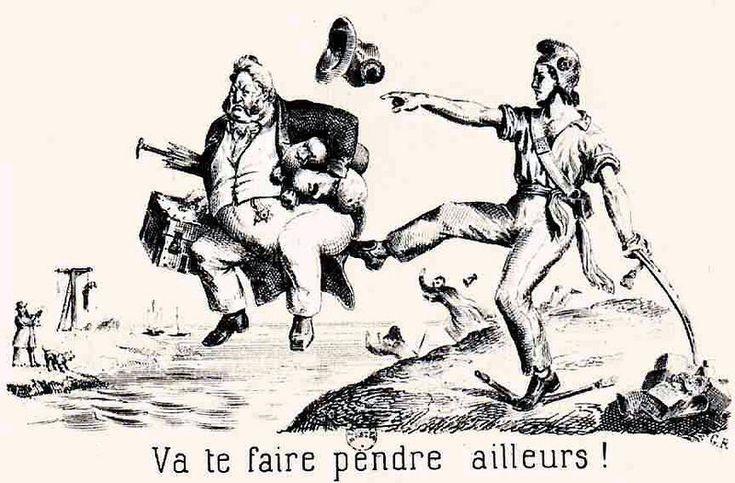 Caricature politique de l'époque, représentant un obèse Louis-Philippe Ier et un homme portant le bonnet phrygien.