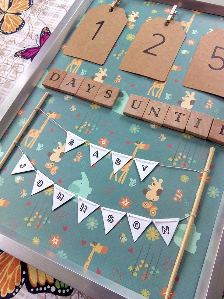 Personalised Baby Countdown Elephants and Giraffes - Days Until - Pregnancy Countdown- Fun Photo Prop (12.49 GBP) by TBJTheButtonJar http://ift.tt/201lXuL
