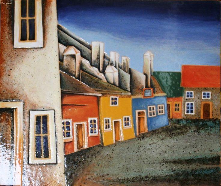 ULICZKA obraz ceramiczny, majolika Danuta Rożnowska-Borys BorysArt