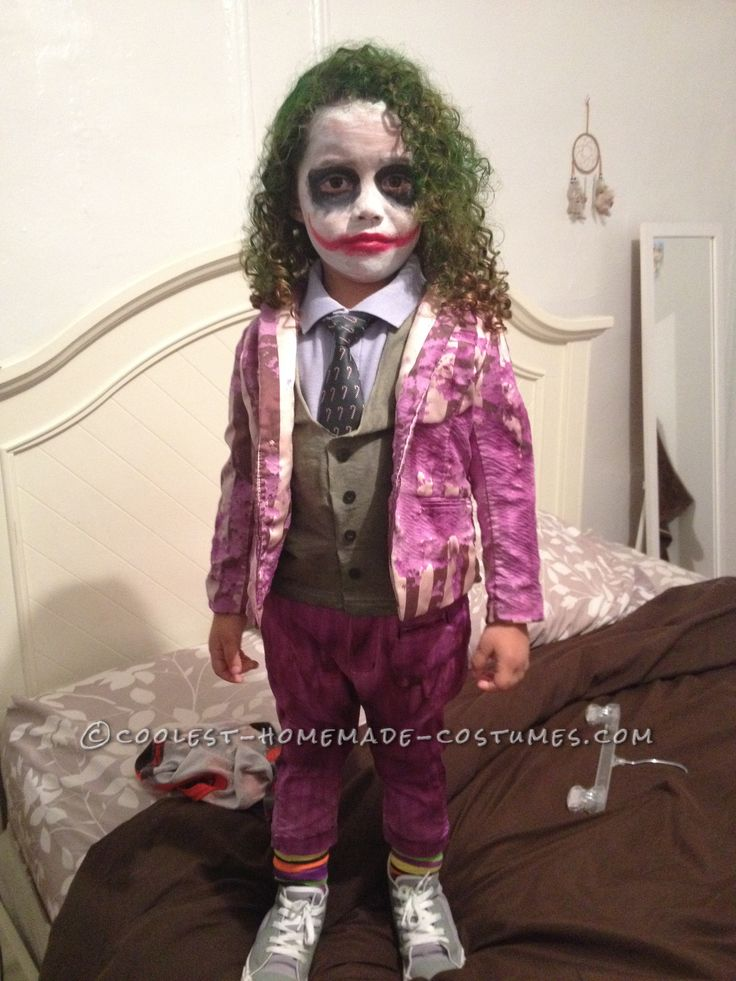 Creative and unique homemade joker costume for a toddler for Unique childrens halloween costume ideas