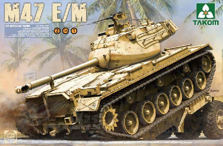 Takom M47 E/M Patton Tank 2072 1/35 Armor Plastic Model Building Kit