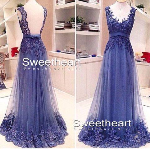 Round neckline Lace Long Prom Dress, Formal Dress,bridesmaid dress $239