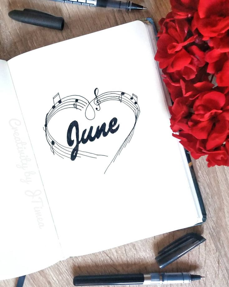 Bullet journal monthly cover page, June cover page, musical notes drawing. | @creativitybyjtimea