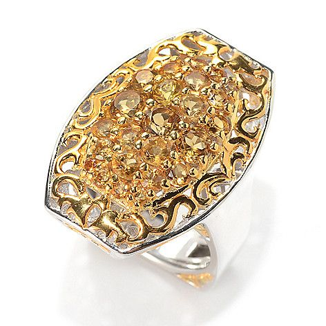 161-215 - Gems en Vogue 2.05ctw Citrine & Scrollwork Elongated Cluster Ring