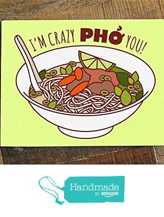 "1x Funny Love Card ""Crazy Pho You"" - Pho Soup Pun Greeting Card, Funny Birthday Card, Anniversary or Valentine's Day, I Love You Card from TIny Bee Cards http://www.amazon.com/dp/B015X73H0E/ref=hnd_sw_r_pi_dp_coRmwb1DP84RB #handmadeatamazon"