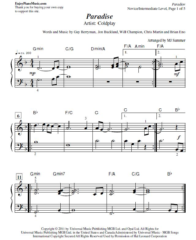 Paradise By Coldplay Sheet Music For Piano At Intermediate