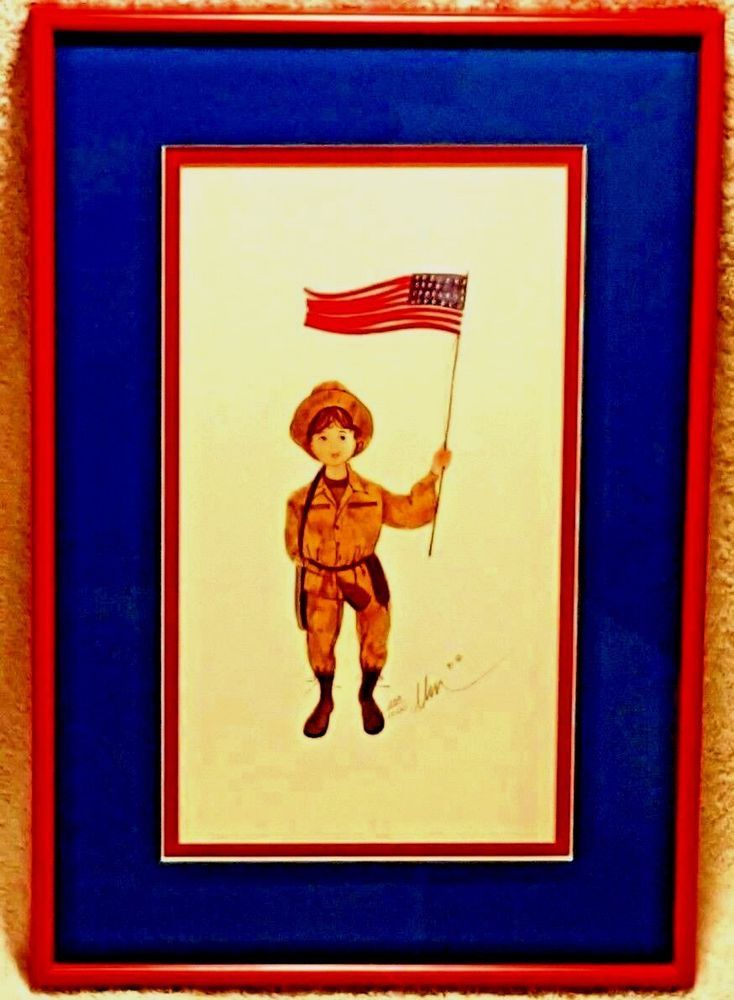 VTG Army Girl Military P Buckley Moss Professionally Framed Print Patriotic Flag #Vintage