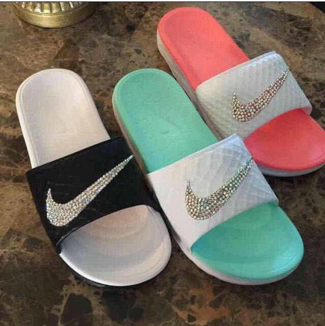 Custom Nike Slides by TheGoddessDenShop on Etsy https://www.etsy.com/listing/519961970/custom-nike-slides