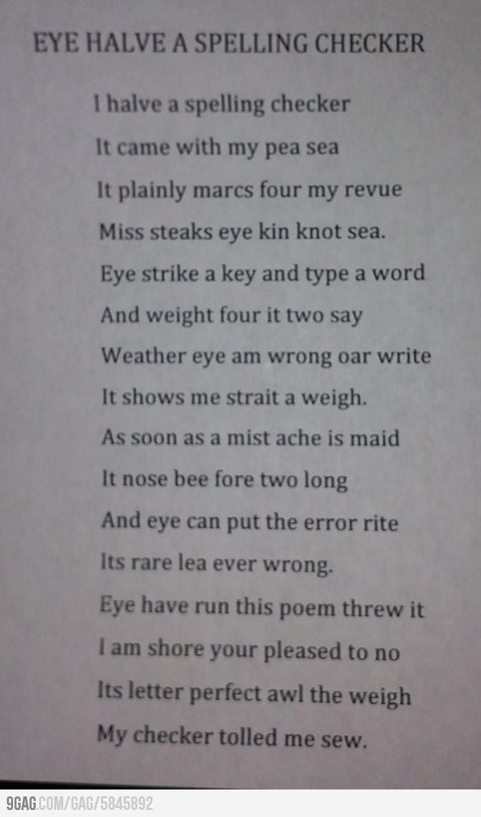 Eye Halve A Spelling Checker
