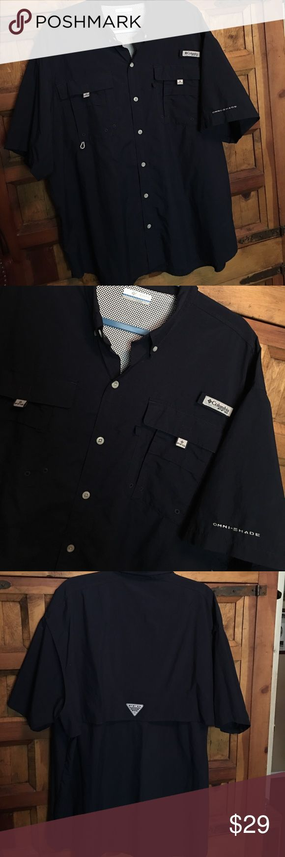 COLUMBIA PFG MENS BUTTON UP SHIRT  🐠☀️ Never worn men's COLUMBIA PFG shirt size XL/TG the color is Navy Blue💪🏽😎 Columbia Shirts Casual Button Down Shirts