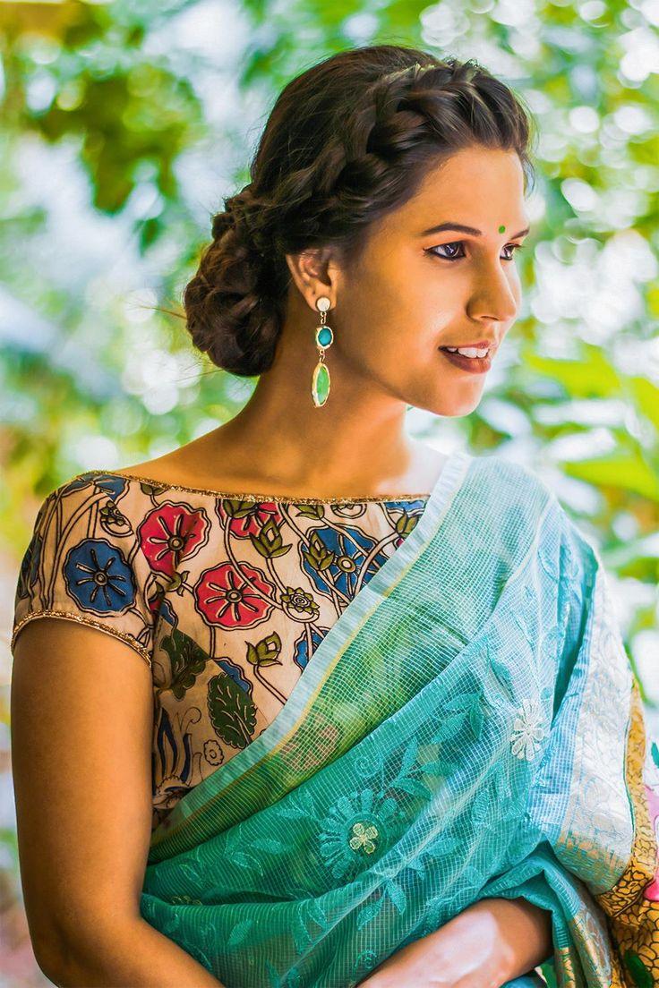 Cream printed Kalamkari cotton boat neck blouse  #blouse #saree #houseofblouse #desi #indianwear #cream #pink #blue #green #kalamkari #boatneck #cotton