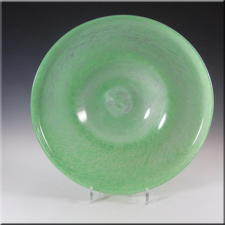 Nazeing Large Clouded Mottled Green Bubble Glass Bowl #1050 - £30.00