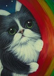 Art: SHY TUXEDO ANGEL CAT BEHIND A RAINBOW by Artist Cyra R. Cancel
