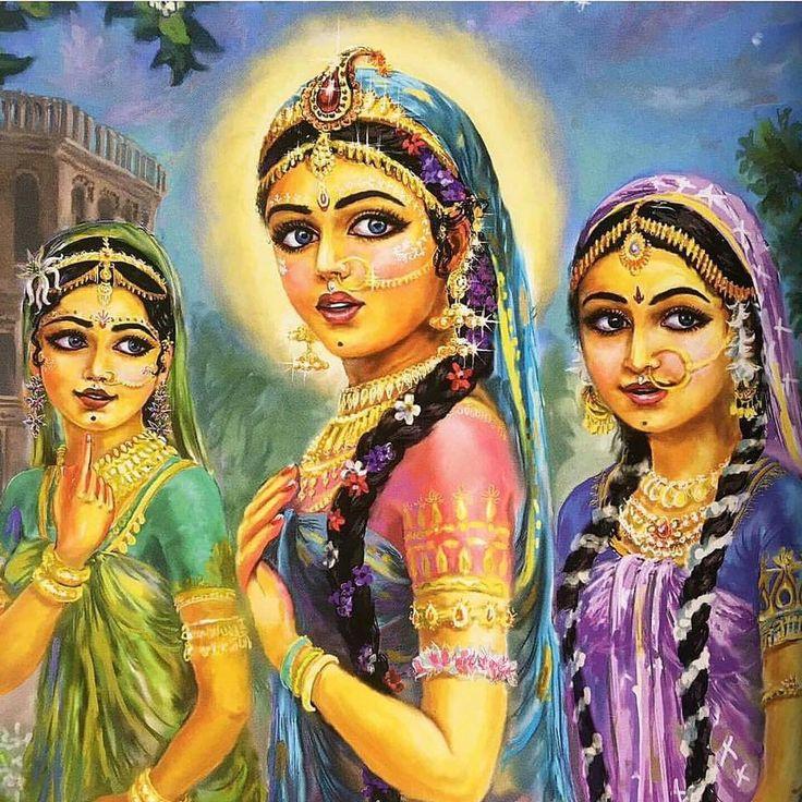 Radharani with Lalita and Vishakha.