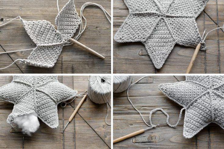 DIY | Stern häkeln - mxliving #artisanat autour du tissu #bricolage déco #bricolage enfant #bricolage paques #diy #diy bébé #diy déco #diy mariage #Häkeln #mxliving #projets diy #Stern #tricot et crochet
