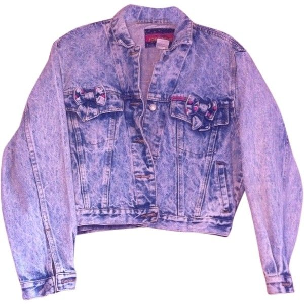 Pre-owned Jordache 80's Vintage Denim With Pink Polka Dot Bows... (€72) ❤ liked on Polyvore featuring outerwear, jackets, pink, pink denim jacket, vintage jacket, 80s denim jacket, vintage denim jacket and purple jacket