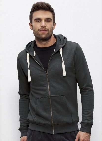 Wanderer men's #zipper #hoodie in Dark Heather Grey. #Fairtrade and made from 85% #organiccotton. Made in Bangladesh and Pakistan.
