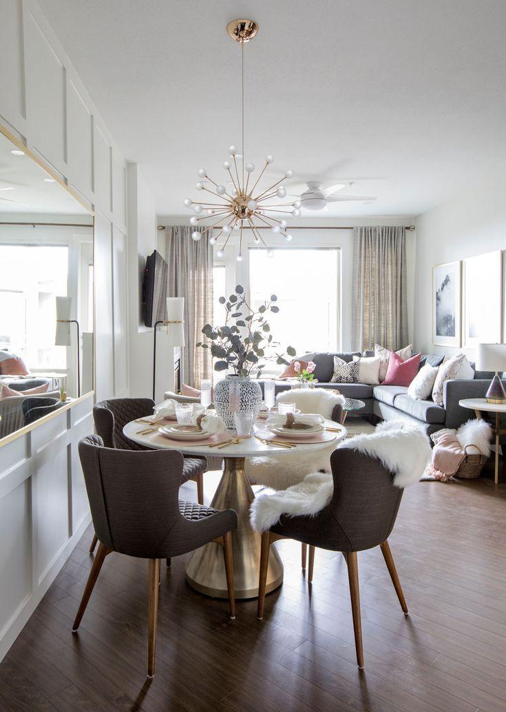 A Condo With Sophisticated Drama Rue Condo Living Room Decor Condo Living Room Dining Room Small