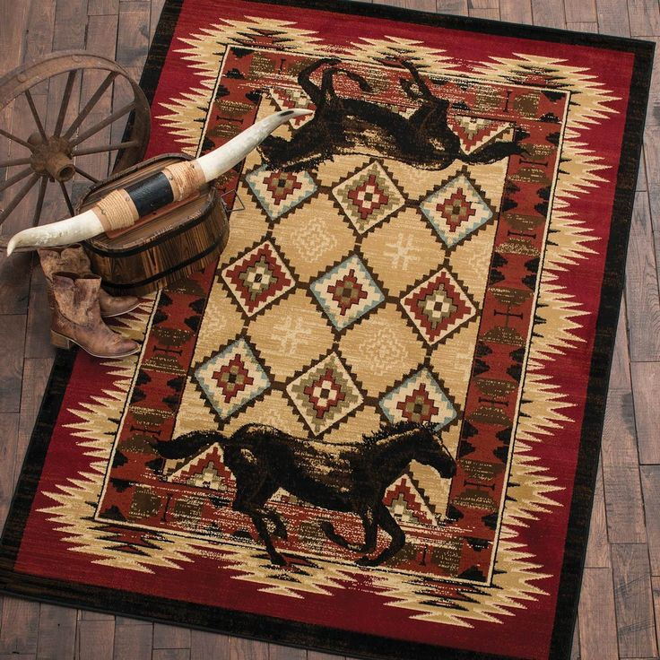 Southwestern Area Rugs Two Horse Rug