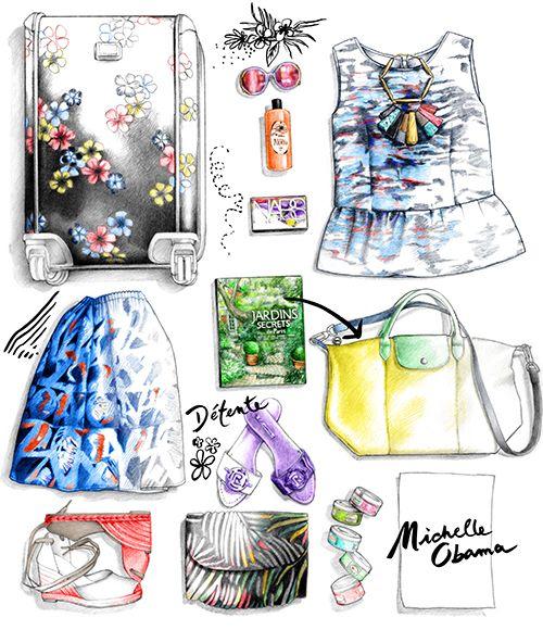 Illustration chaussure sac vêtements Michele Obama dessin Florence Gendre pour Figaro Madame  #dessin#mode#valise#obama