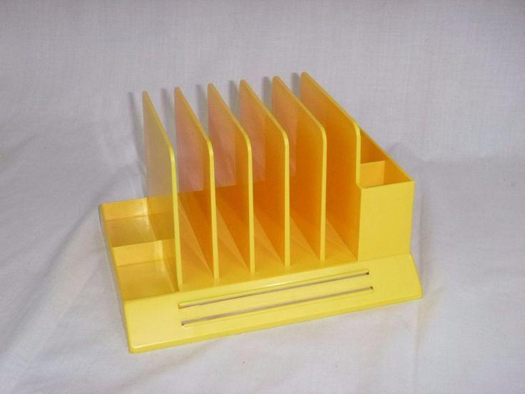 Vintage Mid Century Modern 60's Max Klein Yellow Plastic Desk Organizer #MAXKLIEN