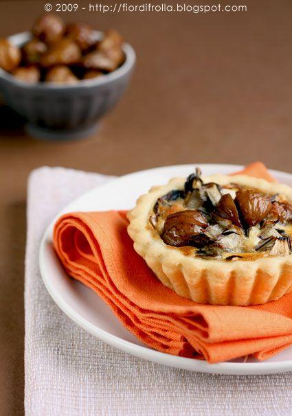 Mini-quiches alle castagne e radicchio rosso