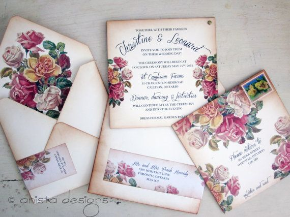 Vintage Wedding invitation - Boho Chic Victorian invitation - Christine Collection-  Sample