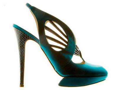 Incredible teal shoe that's pure art. Nicholas Kirkwood 'Dragonfly' slingback shoes.