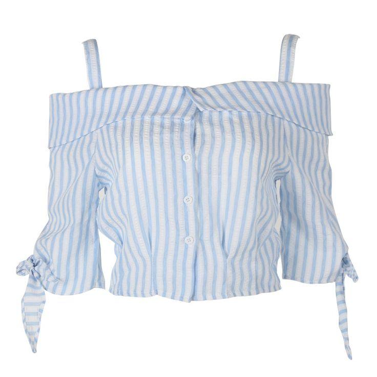 2016 de Moda de Verano Blusas de Las Mujeres Camisa Sexy Hombro Corto Azul Blanco Turn Down Collar Blusa Femininas Crop Ladies Tops(China (Mainland))
