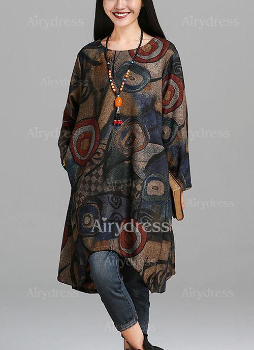 Bawełna Kwiatowy Długi Rękaw Do Połowy Łydki Nieformalny Sukienki (1031364) @