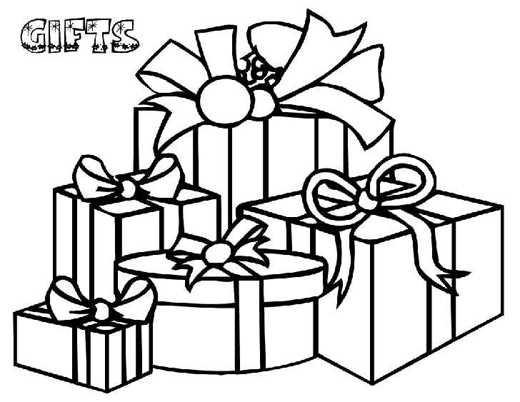 christmas gifts coloring pages for kids
