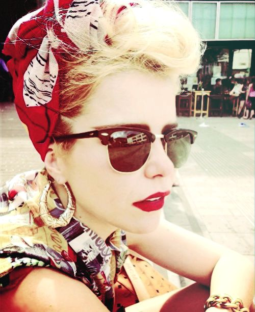Head scarf, glasses, red lip, gold hoops