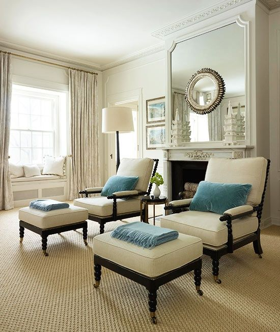 Cream living room with blue pillows & throws