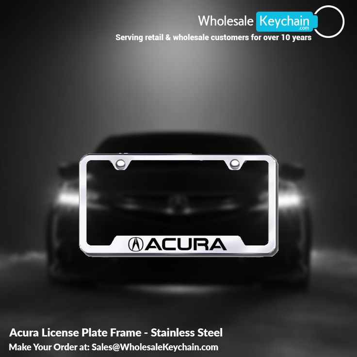 Acura License Plate Frame - Stainless Steel Call us at (952) 681-2143  or email us a Sales@WholesaleKeychain.com www.wholesalekeychain.com #wholesalekeychain #licenceplateframe #moneyclips #trailerhitchlocks #trailerhitchplugs #gift #engraving #caraccessories #ford #toyota #BMW #giftshop #honda #cadillac #chevrolet #keyring
