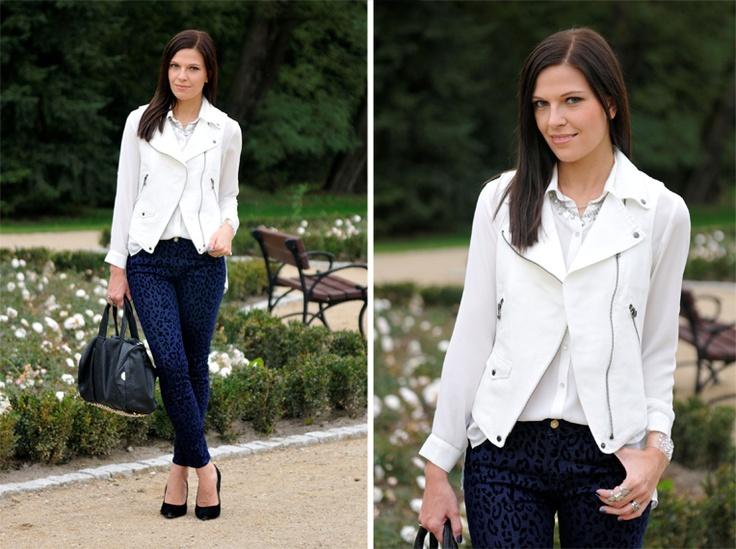 #fashion #fashionista bianco blu nero Addicted to blog di moda: pantaloni blu leopardo