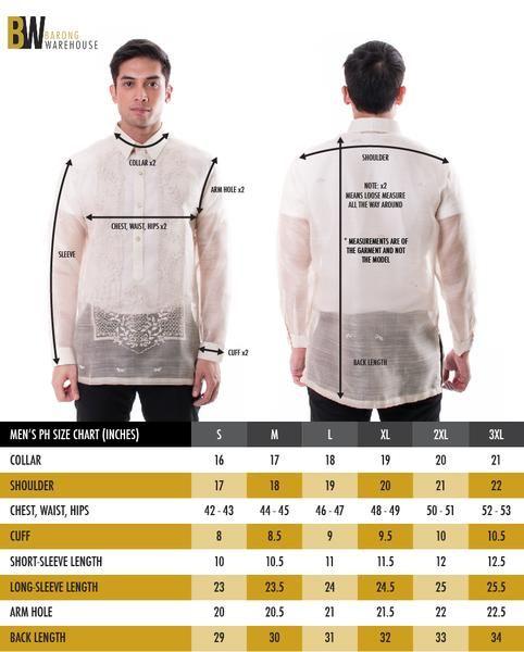 Barong Warehouse Size Chart