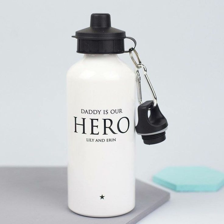 We all know Daddies can be real life heroes so this personalised water bottle is designed to celebrate your very own superhero! - -  #xoxogifts #xoxostationery #smallbrand #handmade #handprinted #gifts #giftidea #personalised #water #bottle #fitness #exercise #waterbottle #sports #sportsbottle #water #bottle #giftsforhim #giftsfordad