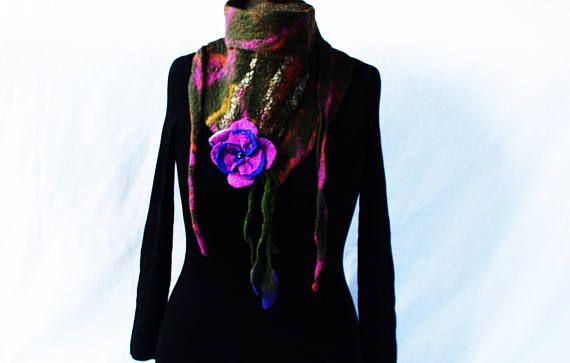 Wool Triangle Moss Green Scarf Felted Wrap Purple Felt Flower