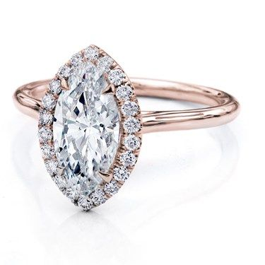 Plain Band Marquise Halo Engagement Setting with GIA Certified J VS1 Marquise Diamond center diamond