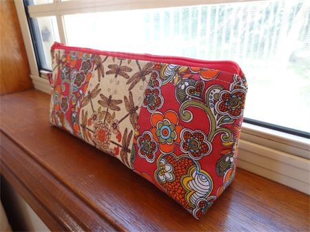 Red and Gold Patchwork Cotton Zippered Pencil Case/Make-Up Pouch